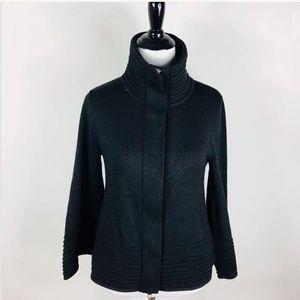 Cache Black Wool Blend Zip Cardigan Sweater S